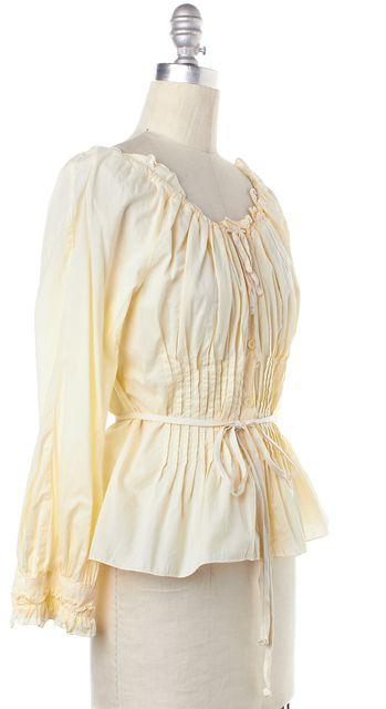 PRADA Yellow Long Sleeve Ruffles Trim Blouse Top