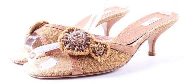 PRADA Beige Canvas Leather Trim Embellished Slip-on Kitten Heels Size 37