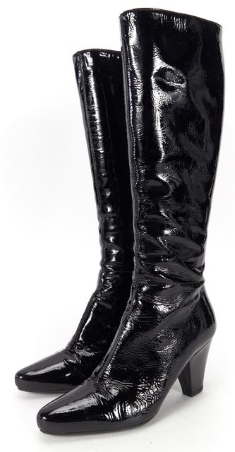 PRADA Black Patent Leather Knee High Heeled Boots