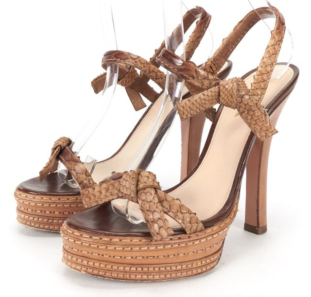 PRADA Brown Beige Python Knots Details Platform Heeled Sandals