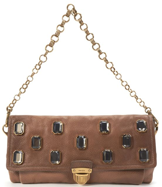 PRADA Brown Leather Jewel Embellished Shoulder Bag