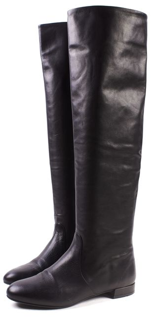 PRADA Black Leather Over The Knee Riding Boots