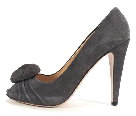 PRADA Gray Suede Peep-toe Flower Embellished Heels
