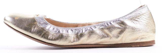 PRADA Metallic Gold Silver Leather Round Toe Ballet Flats Size 39