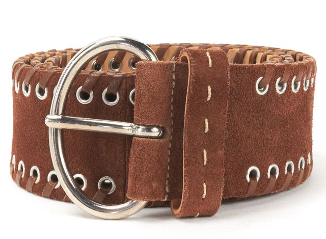 PRADA Brown Suede Lace Up Detail Belt Size 34