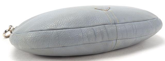 PRADA Light Blue Pebbled Leather Silver Hobo Shoulder Bag