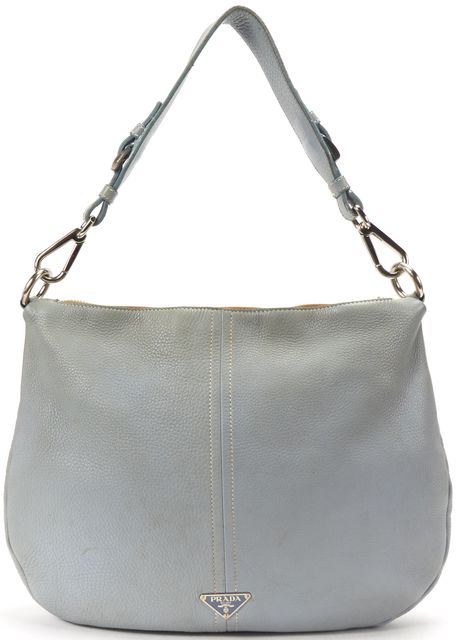 PRADA Light Blue Pebbled Leather Silver Hobo Shoulder Bag