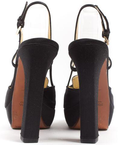 PRADA Black Satin Square Toe Platform Slingback Heels
