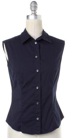 PRADA Navy Blue Sleeveless Button Down Shirt Top