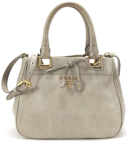 PRADA Gray Leather Small Bow Satchel Handbag