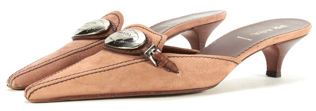 PRADA Brown Leather Pointed-Toe Buckle Slip-On Mules