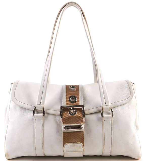 PRADA White Pebbled Leather Silver Hardware Shoulder Bag