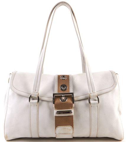 PRADA White Pebbled Leather Silver Hardware Shoulder Bag