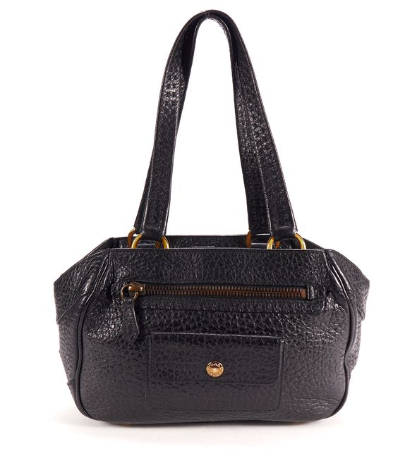 PRADA Black Pebbled Leather Gold Tone Hardware Shoulder Bag