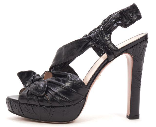PRADA Black Leather Bow Detail Sling Back Hidden Platform Heel Sandals
