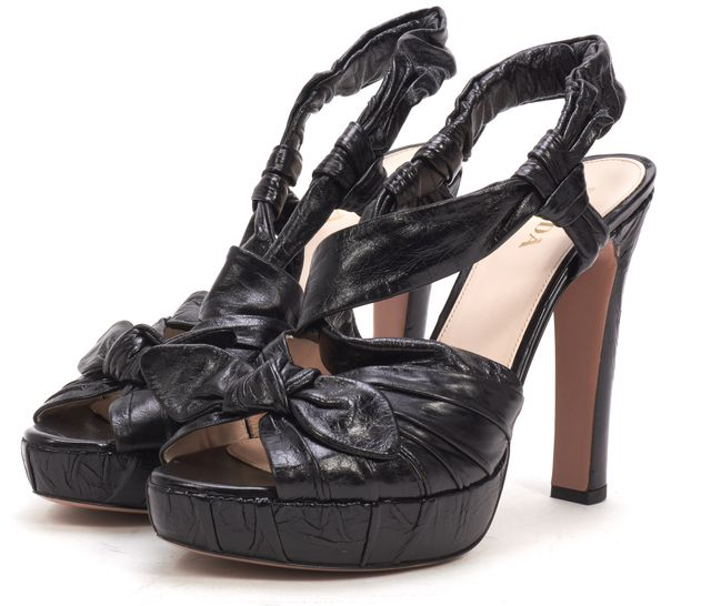 PRADA Black Leather Bow Detail Sling Back Hidden Platform Heel Sandals