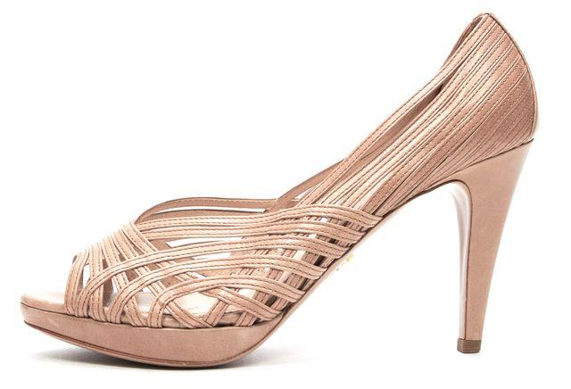 PRADA Beige Leather Cut Outs Peep-Toe Platform Heels