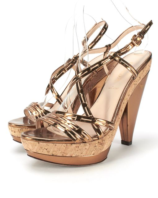 PRADA Gold Leather Strappy Cork Heel Slingback Sandals