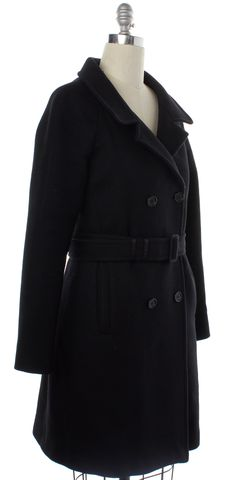 PRADA Blue Wool Double Breasted Trench Coat Size 8 IT 44