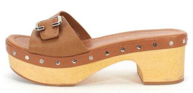 PRADA Brown Leather Wooden Clogs Heels