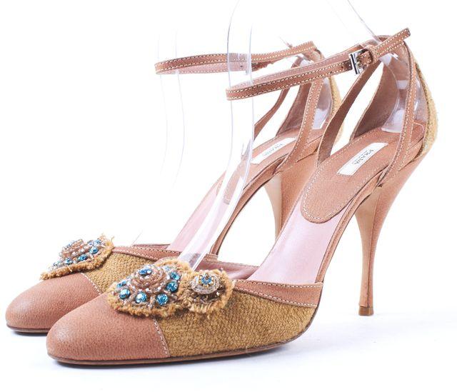 PRADA Beige Pink Embellishment Ankle Strap Heels