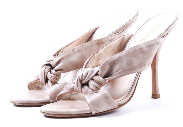 PRADA Beige Knotted Leather High Heel Slide On Sandals