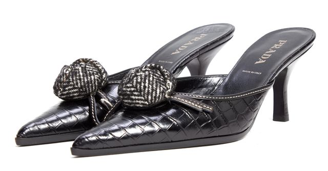 PRADA Black Croc Embossed Pointed-toe Flower Detail Mule Heels