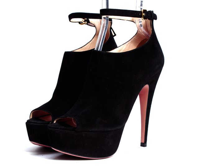 PRADA Black Suede Peep Toe Ankle Strap Booties