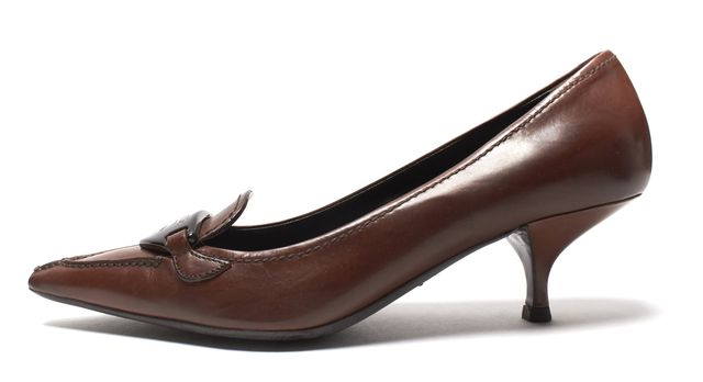 PRADA Brown Leather Pointed-Toe Kitten Heel Pumps Size 37.5