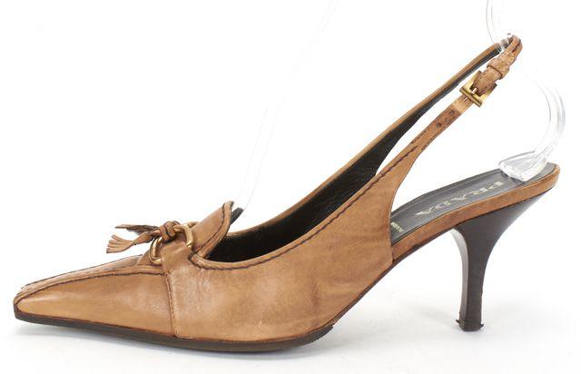 PRADA Brown Leather Pointed-toe Loafer Slingback Heels
