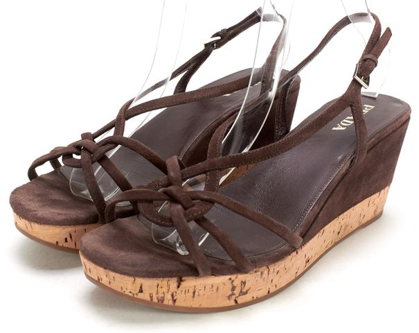 PRADA Brown Suede Leather Sling Back Cork Wedge Sandals
