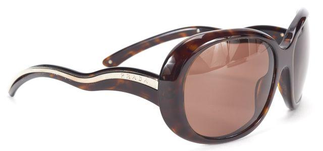 PRADA Brown Tortoise Shell Frame Oversized Havana Square Sunglasses