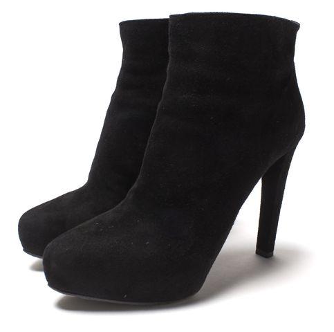 PRADA Black Suede Leather Platform Ankle Boots Size 39.5