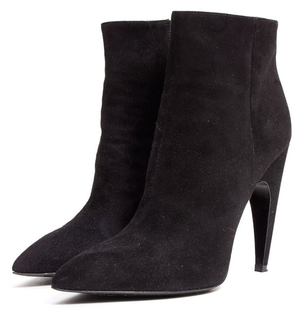 PRADA Black Suede Pointed-toe Ankle Boots