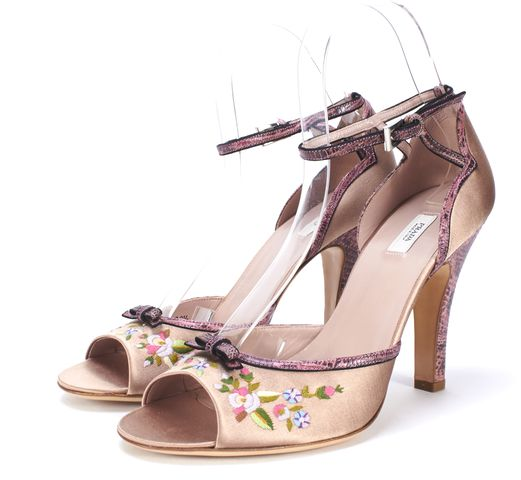 PRADA Rose Pink Embroidered Snake Embossed Ankle Strap Open Toe Heels Size 38.5