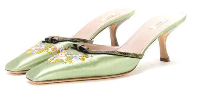 PRADA Green Pink Floral Embroidered Satin Slipper Heels