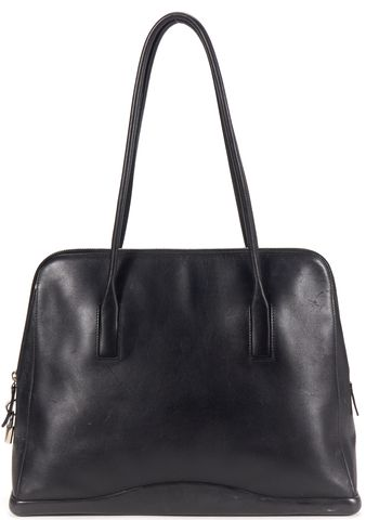 PRADA Authentic Black Leather Silver Tone Hardware Zip Tote Bag
