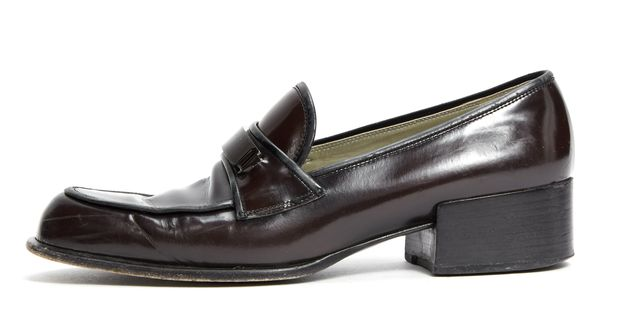 PRADA Brown Black Contrast Stitch Leather Loafers