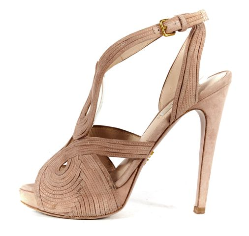 PRADA Pale Pink Suede Leather Layered Ankle Strap High Heel Sandals