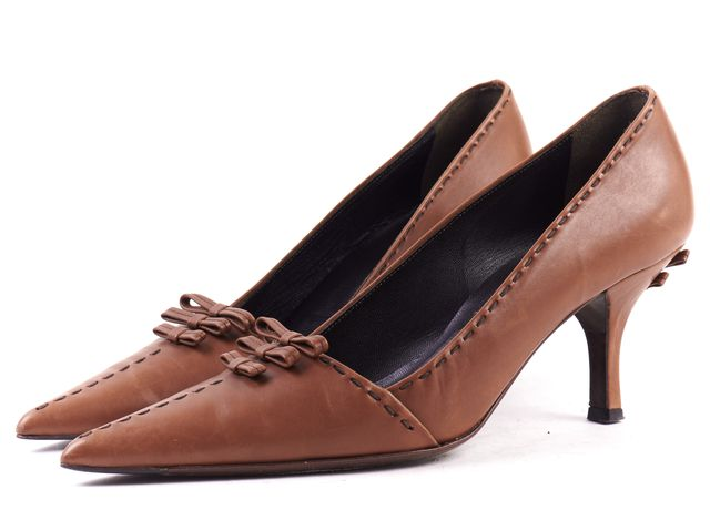 PRADA Brown Leather Stitch Bow Embellished Pointed-toe Pump Heels