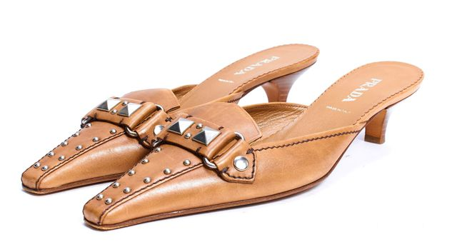 PRADA Brown Leather Studded Slip-on Kitten Heel Mules
