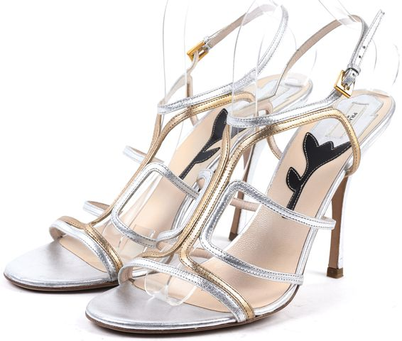PRADA Silver Gold Leather Strappy High Heel Sandals