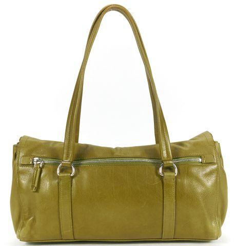 PRADA Olive Green Pebbled Leather Silver Hardware Shoulder Bag