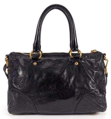PRADA Black Glace Calf Leather Top Handle Satchel Shoulder Bag