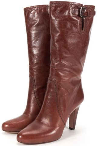PRADA Brown Leather Mid-Calf Boots Tall Boots