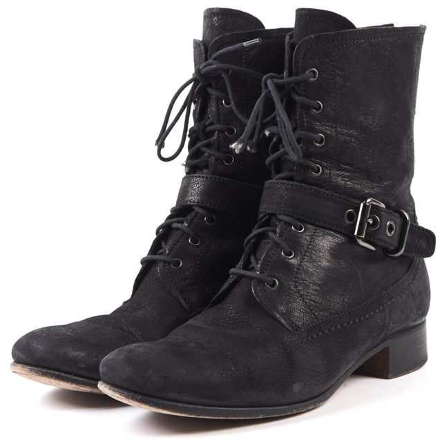 PRADA Black Leather Nubuck Combat Boots