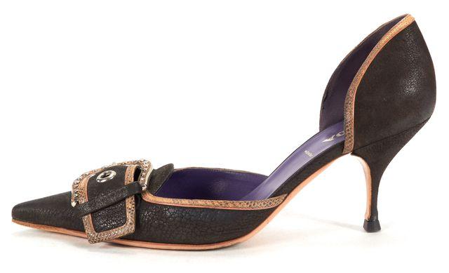 PRADA Brown Texture Leather Buckle Detail D'Orsay Heels