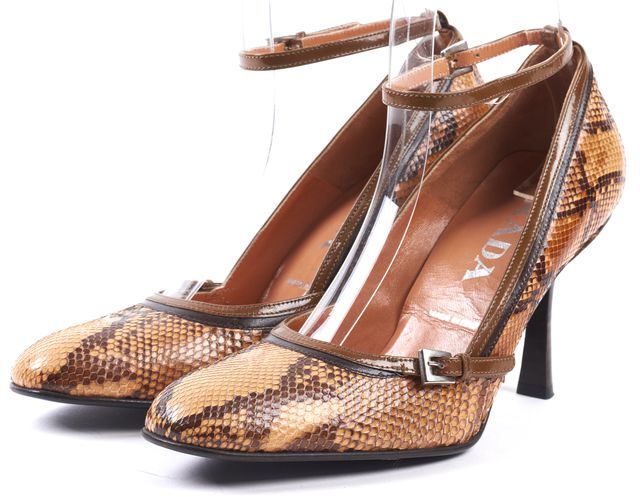 PRADA Brown Snakeskin Ankle Strap Pumps