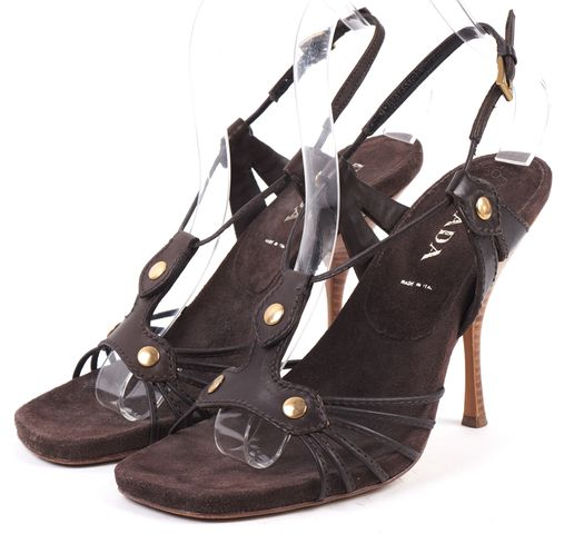 PRADA Brown Suede Strappy Sling Back Square Toe Heel Sandals