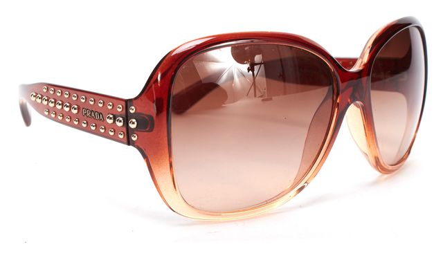 PRADA Brown Square Frame Studded Sunglasses